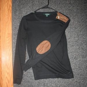 Ralph Lauren Black Shirt with Brown Elbow Patch